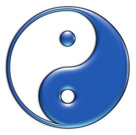 ying yang fondo azul: