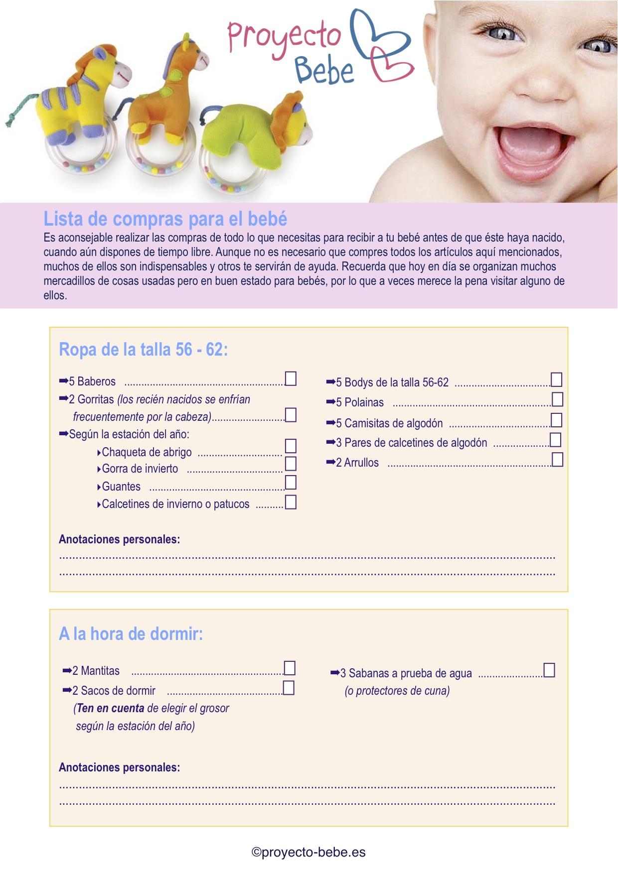 55b4f7f550 Lista de las primeras compras para el bebé
